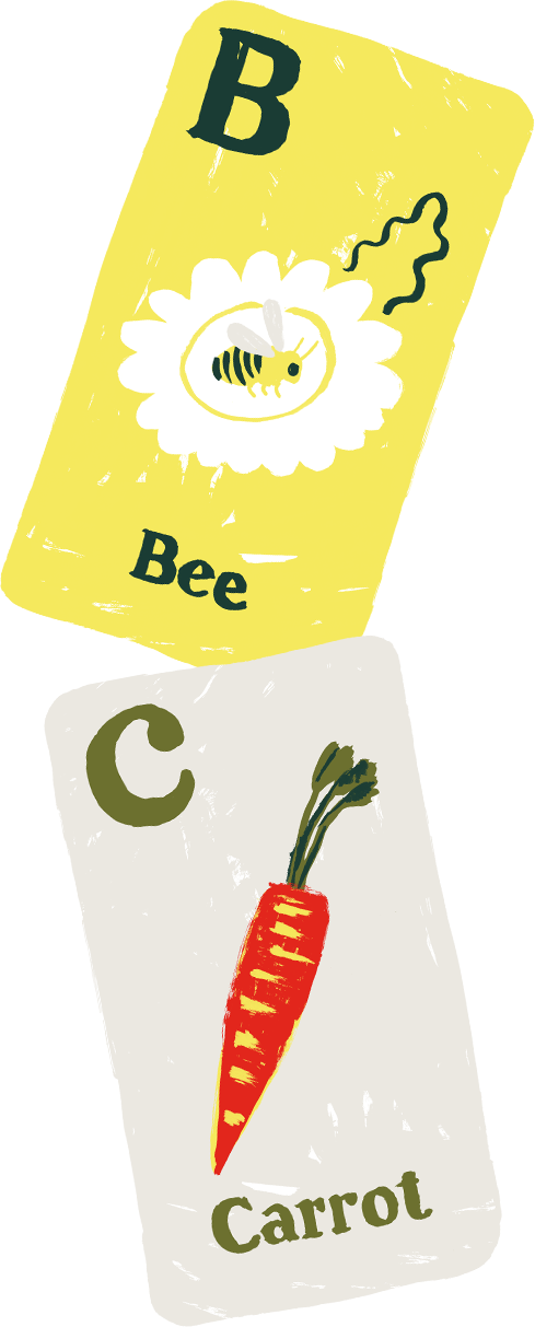 bee and carrot cards